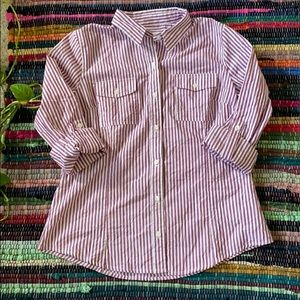 Michael Kors Purple and White Striped Top